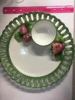 The Mane Lion Pottery Chip & Dip Fruit Platter Tray Italy STRAWBERRIES Vintage