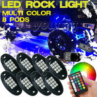 8 Pods RGB LED ROCK Light Under Glow Neon Music Control Off-road Car Truck ATV