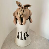 Whimsical Pottery Rabbit Piggy Bank Handmade 10