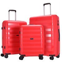 GinzaTravel luggage set 3 piece PP red Lightweight Spinner Expandable Suitcase