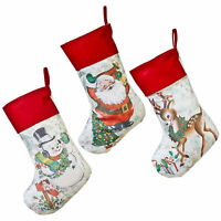 Set/3 RAZ Imports Christmas Stocking Santa Snowman Deer Retro Vntg Style Decor