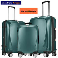 GinzaTravel PC Luggage set 3 piece Lightweight Spinner Expandable Suitcase