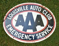 LOUISVILLE KY AAA AUTO CLUB Old ANTIQUE PORCELAIN SIGN DOUBLE SIDED Gas Oil Car