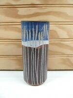 Studio Art Pottery Vase Cattails Blue Brown Gray Stoneware Ceramic Pencil Holder