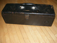 Vintage John Deere 40 series Black Tractor Mounted Tool Box and Tray