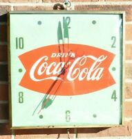Vintage Coca Cola Fishtail Advertising Clock marked PAM Electric Clock Green