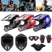 DOT Adult  Youth Dirt Bike ATV Motocross Helmet Goggle w/ Gloves Motorcycle Mask