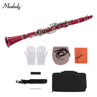 Muslady ABS 17-Key Clarinet Bb Flat with Carry Case Gloves Cleaning Cloth K2Z2