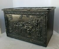Vintage Wooden and Tin Metal Embossed Ornate English Milk Box or Crate