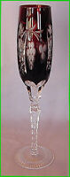AJKA MARSALA BOHEMIAN CRYSTAL CHAMPAGNE FLUTE ~ RED CUT TO CLEAR 8 7/8