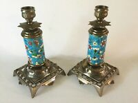 Pr LONGWY French Ceramic & Brass Candlesticks Candle Holders 7 5/8