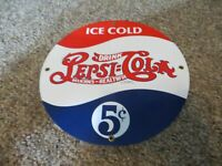 ICE COLD DRINK PEPSI : COLA DOUBLE DOT ,5 CENT,DELICIOUS-HEALTHY PORCELAIN SIGN