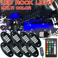 8 Pod LED Rock Light Neon Under Glow Body Dual Remote For Ford F-150 F-250 F-350