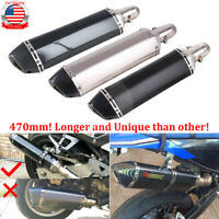 Motorcycle Exhaust Muffler Pipe ATV Slip On Tail Connector Dirt Bike W/Silencer