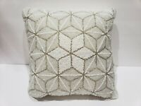 Christmas Star Beaded White Gold Throw Pillow Home Decor NEW