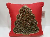 Christmas Tree Red Green Beaded Throw Pillow Home Decor NEW