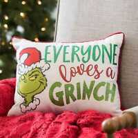 Everyone Loves a Grinch Christmas Holiday Decorative Pillow