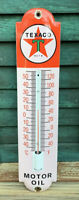 VINTAGE 1960'S TEXACO THERMOMETER PORCELAIN SIGN (WORKING)