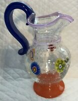 Gambaro Poggi Murano Art Glass Pitcher 1950s Cobalt Handle Millefiori Bubbles
