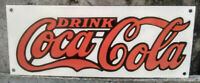 DRINK COCA-COLA PORCELAIN ENAMEL SIGN 18X7 INCHES SINGLE SIDED