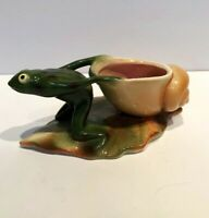 Vintage Pottery Frog with Snail Shell Vase Planter by Clay Sketches Pasadena CA