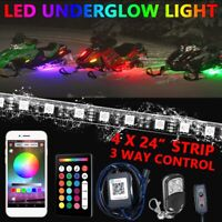 4pcs Multi Color LED Light Under glow body Neon Strip for Car Snowmobile ATV UTV