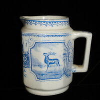 Staffordshire Childs Blue STAG REINDEER Transferware Creamer 1890 Sailboat Moon