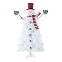6.5ft Pre-Lit Snowman Artificial Christmas Tree 140 Cool White LEDs / 650 Tips