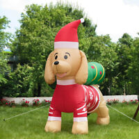 VIVOHOME 7ft Long Christmas Inflatable LED Dog W/ Tree Outdoor Giant Yard Decor