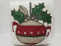 NEW Christmas Holiday Ornament Beaded Throw Pillow Decor 12