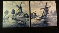 Two Delft Blue & White Hand Painted Windmill Farm Holland Dutch 6