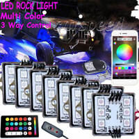 8 Pod RGB LED Rock Light Under glow Neon bluetooth Control For Car Truck Offroad