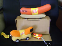 Oscar Mayer Weiner Mobile Bank, key chain, and bean filled plush Weiner Mobile