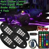 4 Pod RGB LED Rock Light Under glow Neon UPGRADE Control For Car Truck Offroad