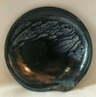 Hand Crafted Blue and Copper Raku Dish with Applied Sea Shells Signed by Artist