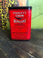 VINTAGE STANLEYS CROW REPELLENT 1 ONE PINT CAN FULL HALLOWEEN GAS SIGN OIL CAN