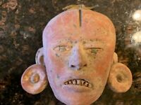 Vintage/Antique Mayan Mexican Folk ART POTTERY Wall Mask Face FOUND 1960