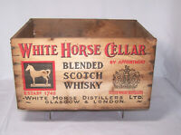 Vintage 1956 WHITE HORSE CELLAR BLENDED SCOTCH WHISKEY Wood Crate, Scotland
