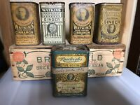4 ANTIQUE J. R. WATKINS SPICE TINS GINGER AND CINNAMON Plus 1 RAWLEIGH'S 1930's
