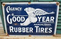VINTAGE LARGE GOODYEAR PORCELAIN PERFORMANCE PARTS SIGN 24