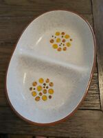 Stangl Vintage Sun Pebbles Divided serving Bowl Yellow Brown Orange 10.5