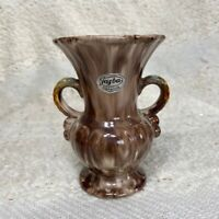 Jasba vintage 1960s Keramik purple/brown orange green double handle small vase