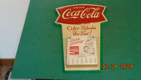 Vintage 1960's Coca Cola Fishtail Tin Calendar Sign EXCELLENT!! RARE!!!