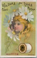 Vintage Sewing Trade Card J P Coats Fantasy Victorian Thread Girls Face Flower