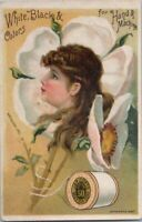 J P Coats Fantasy Vintage Sewing Trade Card Advertising Thread Girls Face Flower