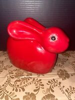 Studio Pottery Rabbit Bunny Red Glaze Unmarked 9