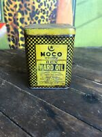 VINTAGE MOCO REX HARD OIL 1 LB OIL CAN GAS STATION SIGN MARSHALL OIL ENGINES