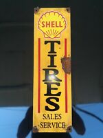 Antique style-porcelain look Shell tire sales oil dealer gas pump sign Nice COOL