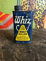 VINTAGE HOLLINGSHEAD WHIZ FLY FUME INSECT KILLER 8 OZ CAN GAS STATION SIGN OIL