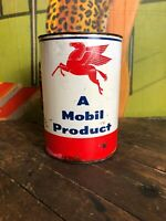 VINTAGE MOBIL OIL 5 LB OIL CAN GAS STATION SIGN PEGASUS GREASE NEW YORK